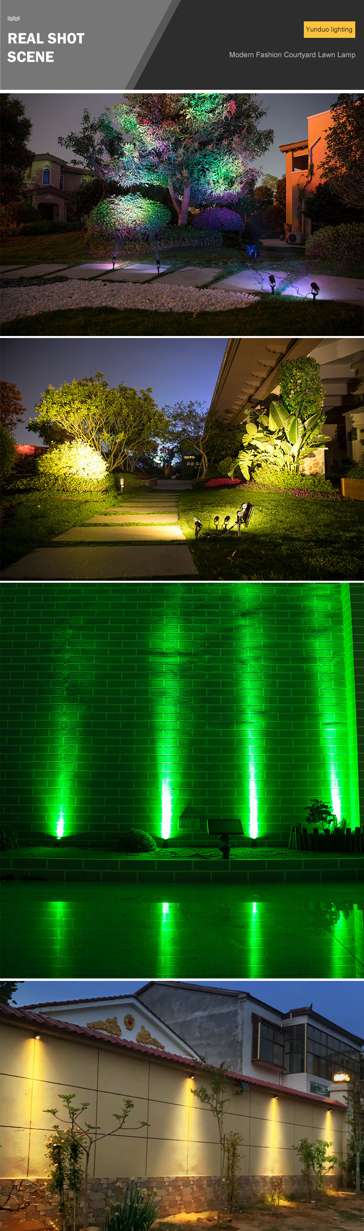 CE Rohs 4 Head Narrow Beam Spot Tree Outdoor Waterproof IP44 4W RGB Led Solar Garden Light