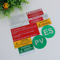 Anti-UV anti-faded 5 year life engraved reflective Vinyl PVC PP ABS solar panel sticker AS/NZS3000 for Australia and Thailand