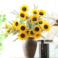 Y0027-4 Factory Supply 75cm Long Stems 3 Heads Flowers Silk Artificial Sunflower