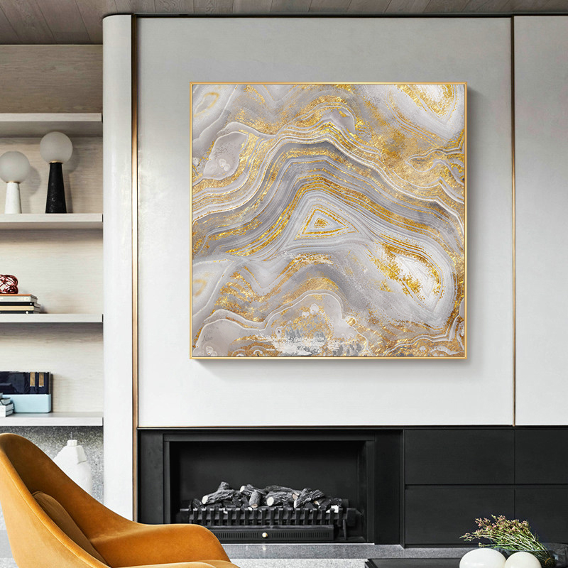 Golden Handmade Oil  Painting  Agate Marbled Geode Home Decor  Wall Art