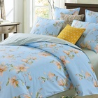 Wholesale sky blue bed sheet printing comforter set 4 pcs 100% cotton satin bedding set for adult