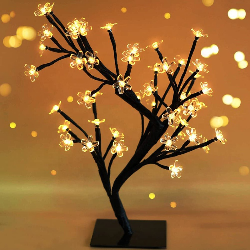 Wholesale Cherry Blossom LED Tree Light Artificial Christmas Tree  Decorations For Home Indoor Desk/Bedroom