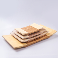 Nice Two Color Japanese Style Tableware Sashimi Sushi Tray Bamboo Curve Geta Serving Plate