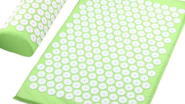 Natural linen Acupressure Mat Foot Shakti Lotus Plastic Spikes Massage Acupressure mat