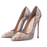 High Quality Women Snake Print Pumps Pointed Toe Sexy Thin High Heel Hot Sale Animal Print Ladies Court Shoes