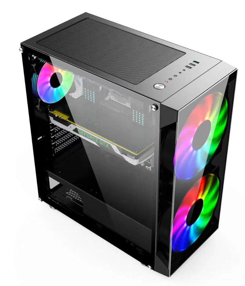 H series Black Tempered Glass Panel computer gaming case Support 14cm 18cm 20cm RGB Flowing fan