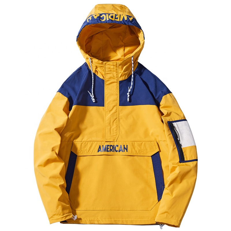 Custom <strong>men</strong> pullover bulk windbreaker anorak hooded <strong>jacket</strong> <strong>winter</strong> wears <strong>men's</strong> <strong>jacket</strong>