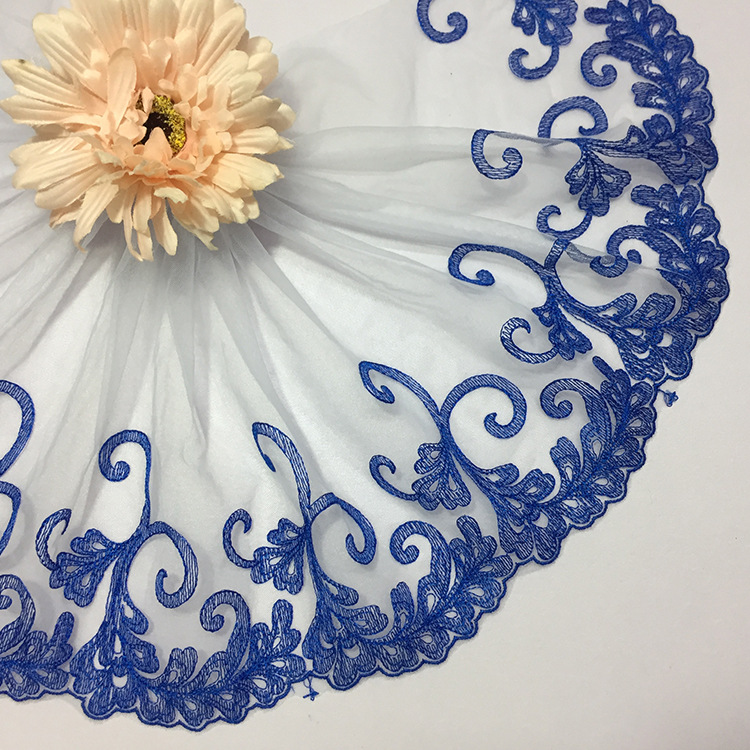 Lace accessories Soft screen yarn Blue embroidery lace water-soluble computer embroidery fabric
