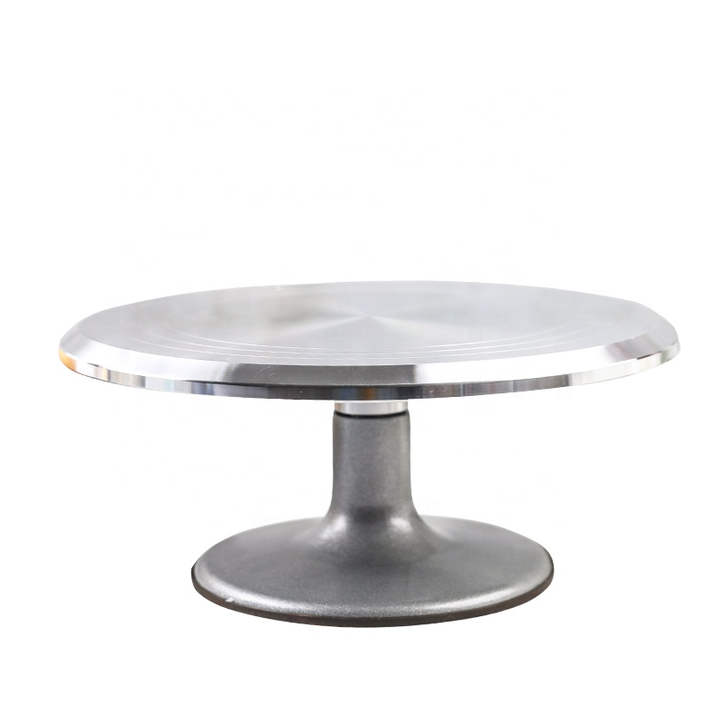Aluminum Alloy Rotating Cake Decorating Stand Cake Turntable Construction with Smooth bearing and Non-slipping Silicone Bottom