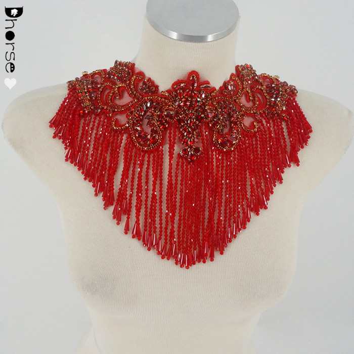 High quality custom red crystal beaded rhinestone appliques motif for dresses