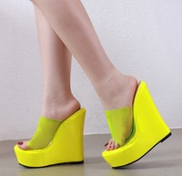 zm80789a Sexy nightclub lady slippers sandals PVC wedge heel thick super high heels large size women shoes