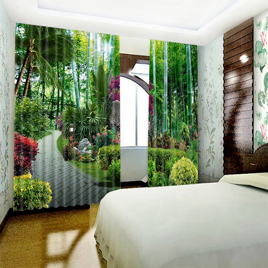 The path of bamboo forest environmental protection digital printing high quality customized blackout curtain babson curtains