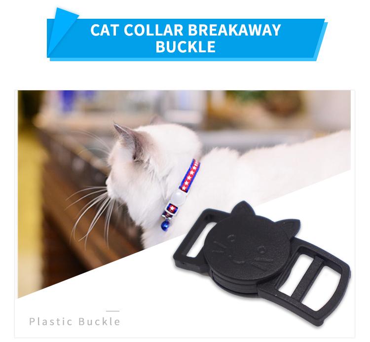 Personalizado gola redonda cor da cara do gato de plástico de segurança de liberação rápida fivela fivela separatista para colar do gato