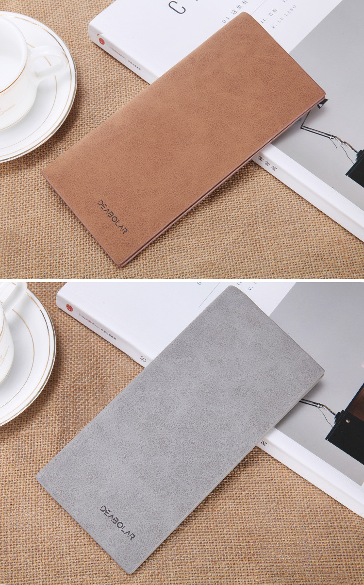 hot sell PU leather wallet fashion ultra-thin vintage matte long mens wallet