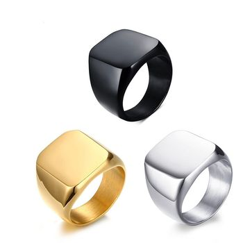 Men High Quality Rings Stainless Steel Blank Ring European and American Simple Titanium Steel Men's Gold Ring