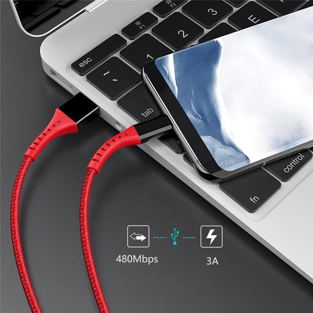 Amazon accessories nylon braided USB-C to USB A 2.4A type c fast Charger cable 2.0 type-C c-type data usb cable