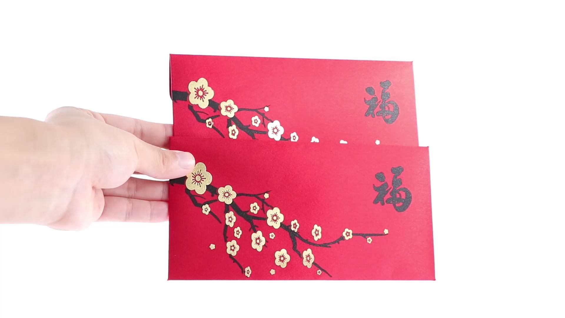 2021 Fancy custom made nuovo anno fortunato soldi di imballaggio Cinese rosso busta di carta