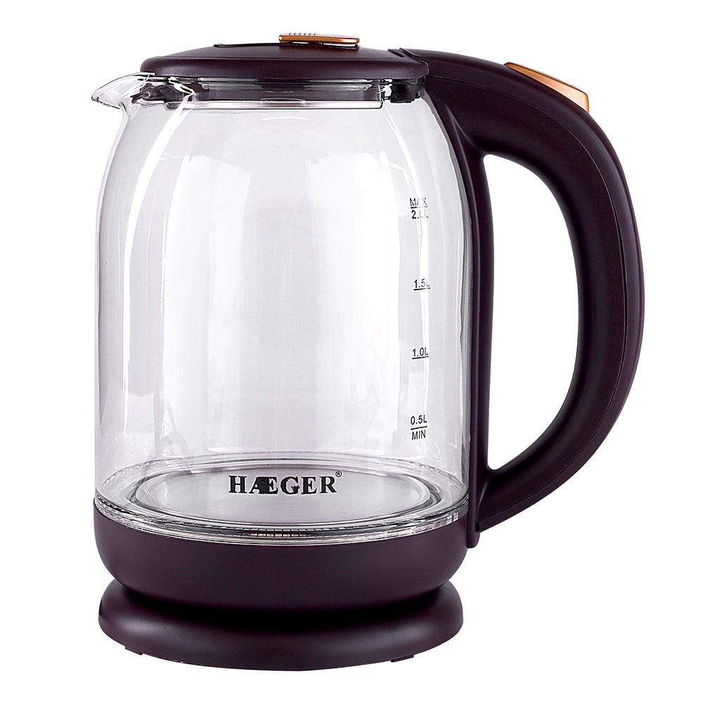 HAEGER бытовой электрический чайник. Отличное качество здоровья чайник кипятить чай/стекло электрический чайник