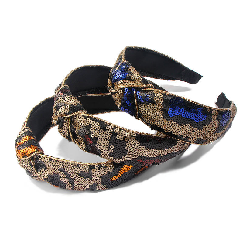 New Style Dazzle Color Sequin Hair Bands Leopard Knot Headband for Women Factory Wholesale