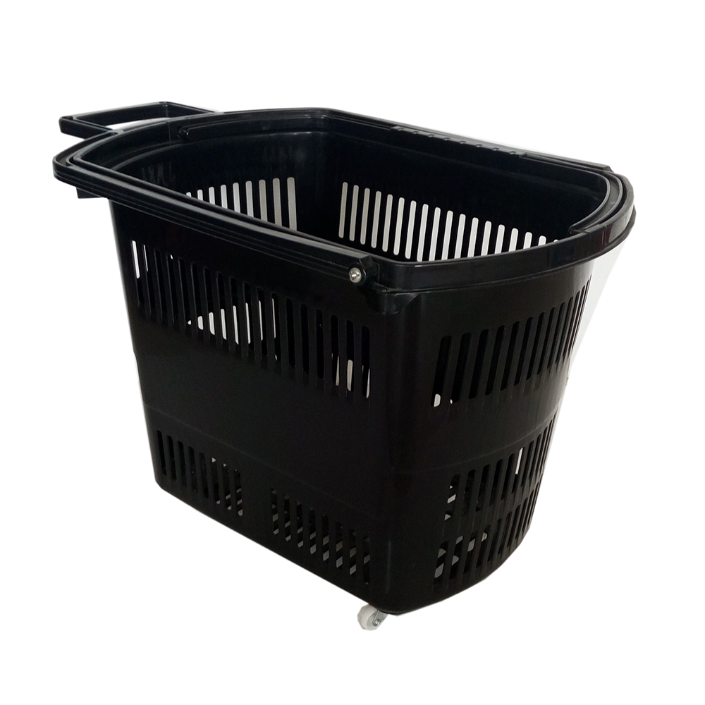 45L New Design Rolling Shopping Plastic Baskets