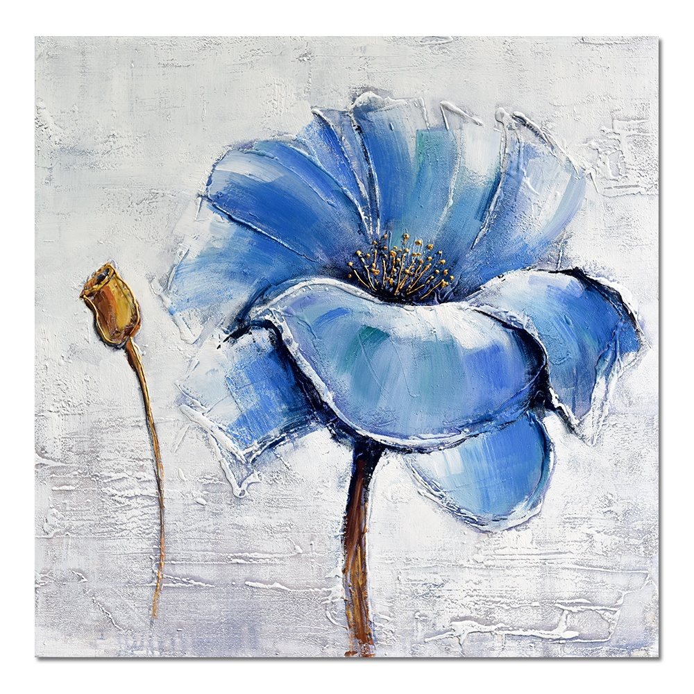 Dafen Handpainted Texture Wall canvas Art Deocrative Abstract Blue Flower Oil Painting