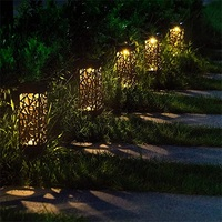 108pcs/lot Hollow-carved Design Solar Garden Pathway Lights Lawn Lamp Outdoor Path Light Wireless Waterproof Night Led Lamp