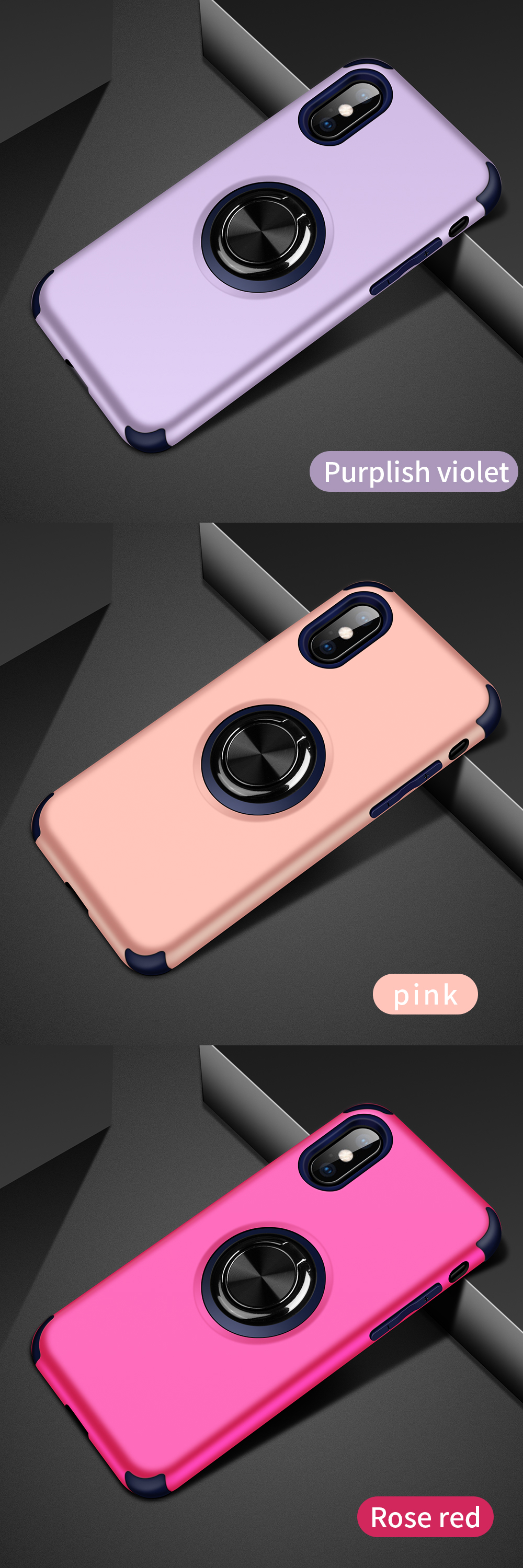 TPU PC Armor Car Magnetic Metal Ring Holder Phone Case For Iphone XS MAX Shockproof Case