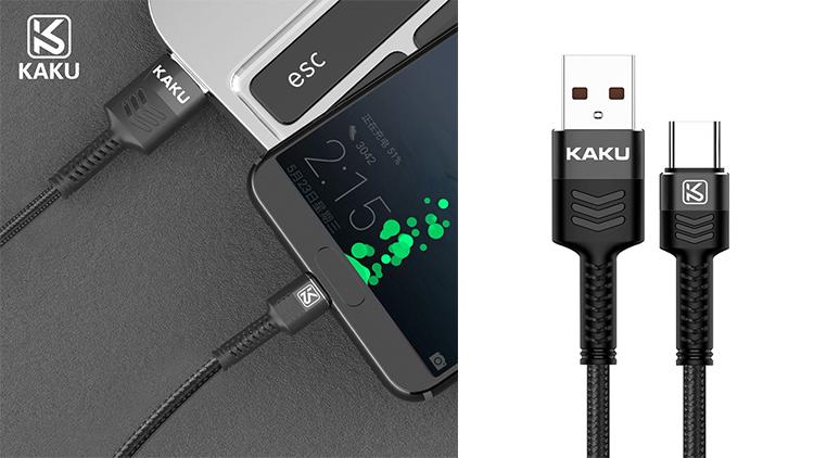 KAKU auto disconnect usb c 2.4a current fast charger type c charging cable