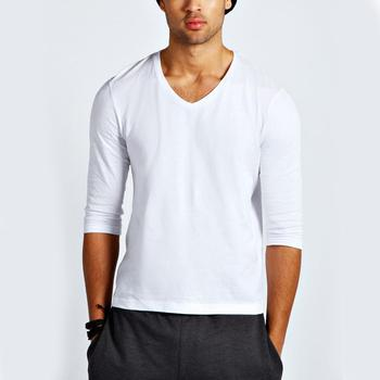 Tight fit basic 3/4 long sleeve men V neck fit white t shirt