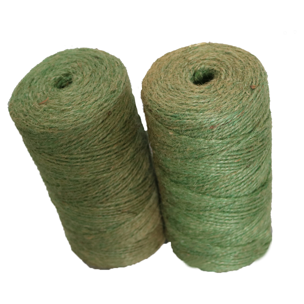 Green color jute twine Raw Twisted 8mm 3 strand Jute Rope Twine Ball spool roll