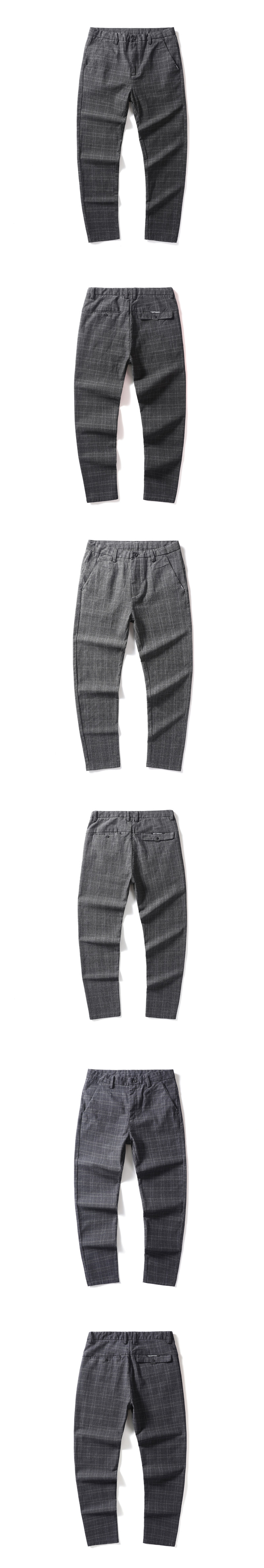 black grey blue color men's causal British style slim fit plaid check chino pants trousers pantalone for men autumn season