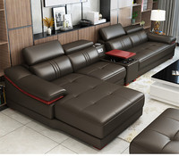 Modern leather sofa living room furniture couch with Audio