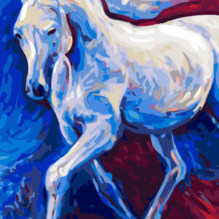 Good Price Home Decoration Modern Canvas Animal Horse Art Digital Oil Painting