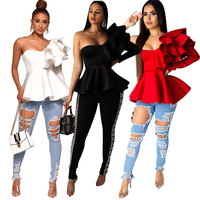 MT54-8212 One Shoulder Lady Blouse Women Ruffle Tops Fancy Ladies Blouses