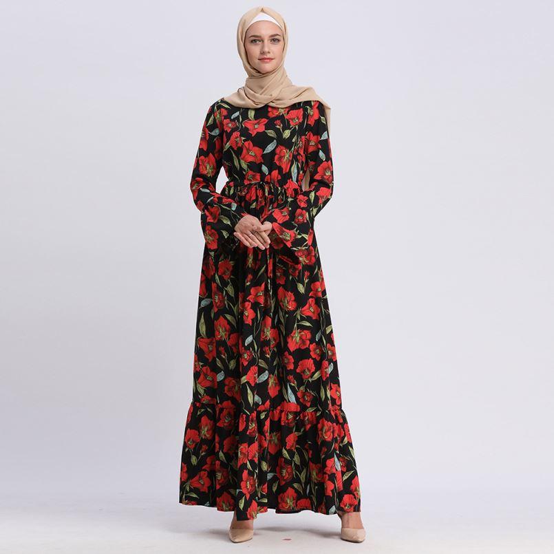 Eşleşen renk müslüman elbise uzun kollu fas kimono abaya moda elbise