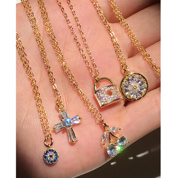 Hotsale Design Jewelry S925 Sterling Silver Cross Pendant Necklace 18k Gold Plated Evil Eyes Lock Pendant Necklace For Women