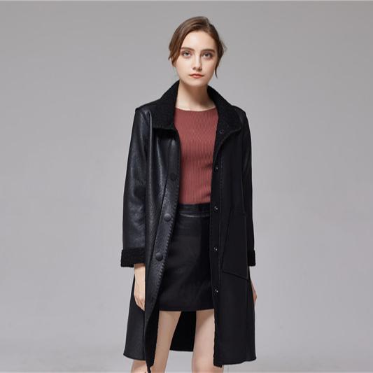 ฤดูหนาวแฟชั่นผู้หญิงสีดำขายส่งสุภาพสตรีหนังเสื้อแจ็คเก็ต