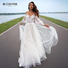 Vestido de Noiva лиф сердечком, Кружевная аппликация, свадебное платье 2020, бохо, иллюзия, пышные рукава, а-силуэт, принцесса, BECHOYER PA03, платье невесты(Китай)