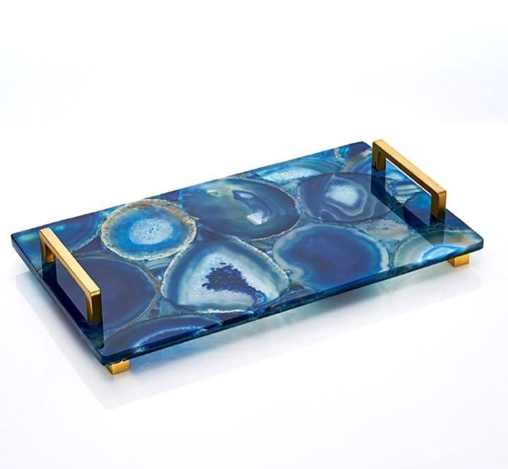 Agate Slice Coaster Bar Serving Tray