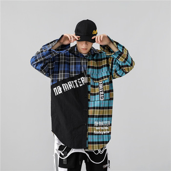 Customized Logo Design Long Sleeve Button Up Printed Colour Block Oversized Men Shirt Casual With Big Pocket