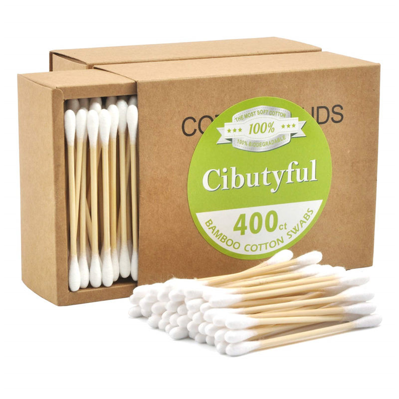 Eco friendly biodegradable bamboo stick cotton bud for makeup