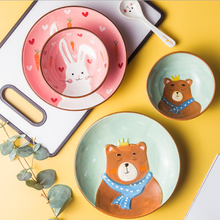 Kreative Cartoon Tier Keramik Dinner Set Kinder Morgen Platten