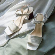 MLJUESE 2020 женские сандалии римские сандалии оранжевого цвета с пряжкой на ремешке с открытым носком на высоком каблуке пляжные сандалии вечер...(China)