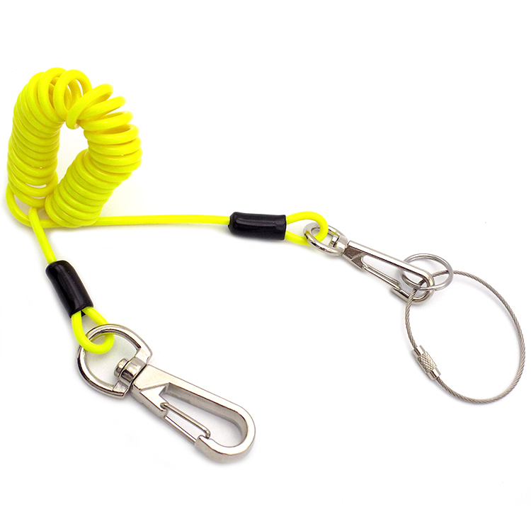 Safety PU Coated Retractable Nylon Braided Tool Coil Spring Lanyard With Lock Quick Link And aluminum Hook