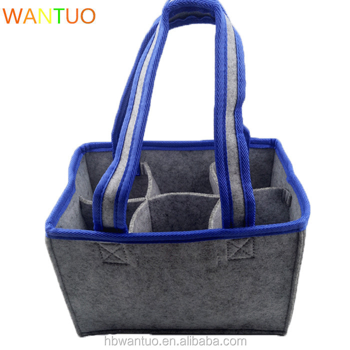 Reusable Top Quality Dark Grey 6 bottles Felt Wine Tote bag with Removable Divider