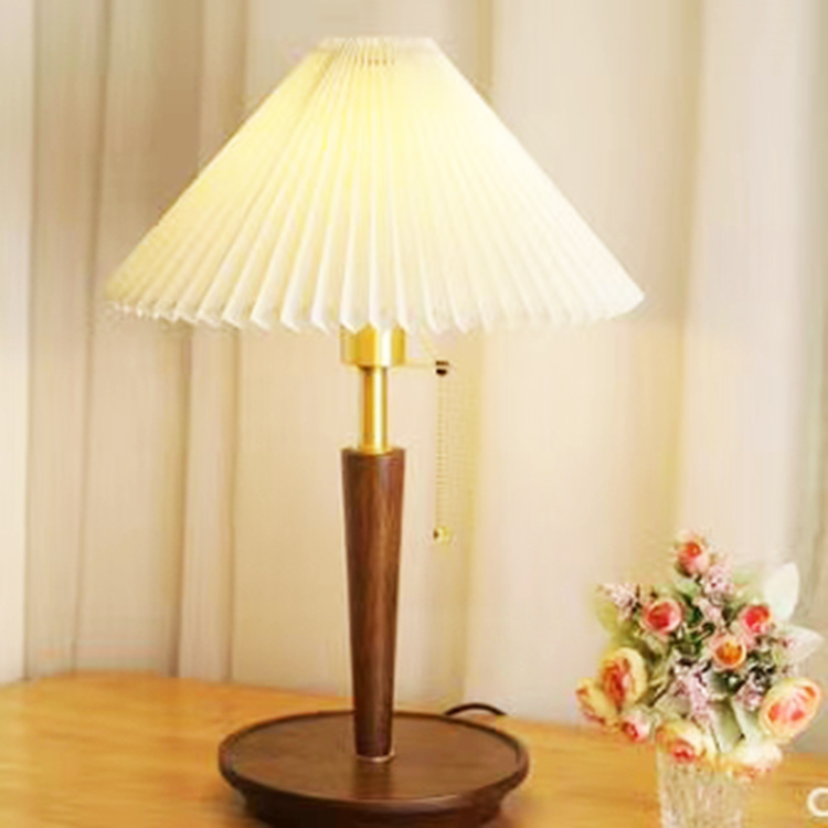 Dongguan Best Selling Round Pvc+Fabric Knife Edge Pleated Lampshade