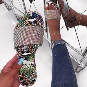 Hot Sale Women's Diamond Shoes Slippers Summer New Ffashion Women's Flat Sandals