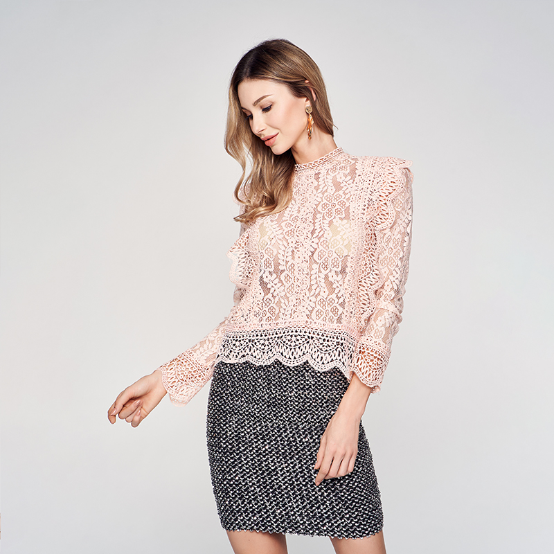 Custom Delicate Sexy kiel See Through flounce Shirt Casual hoge hals dames kantoor Lace crop top mesh blouse Lange mouw