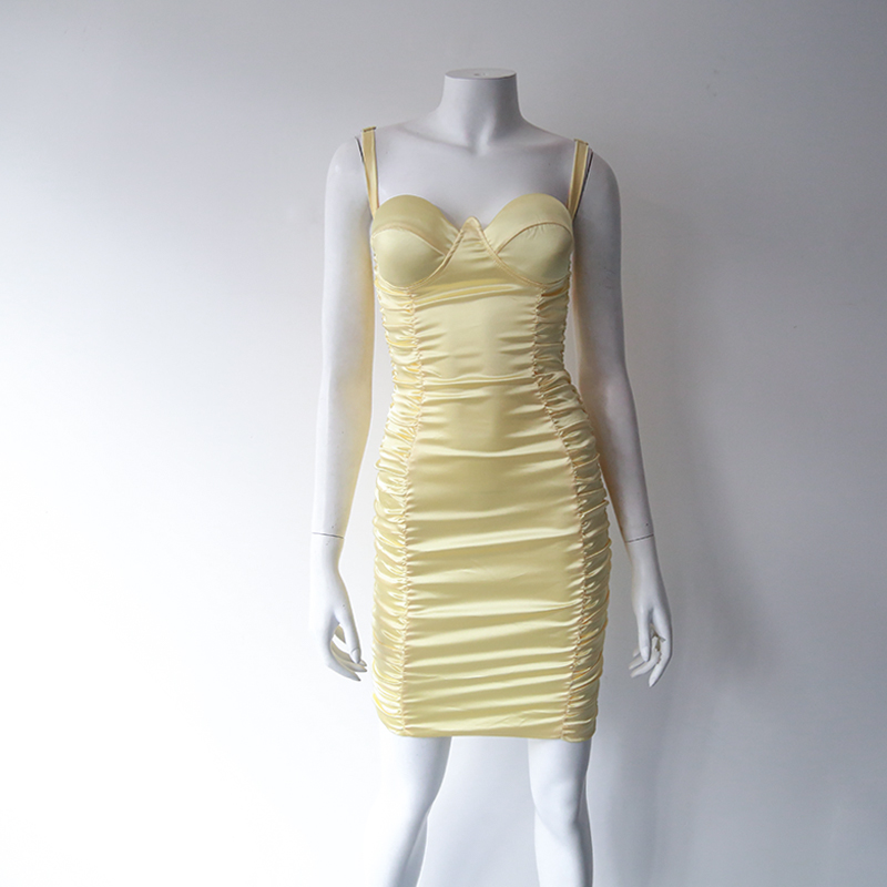 2020 Summer Hot Fashion Slim Body Sexy Yellow solid Women Dress Party