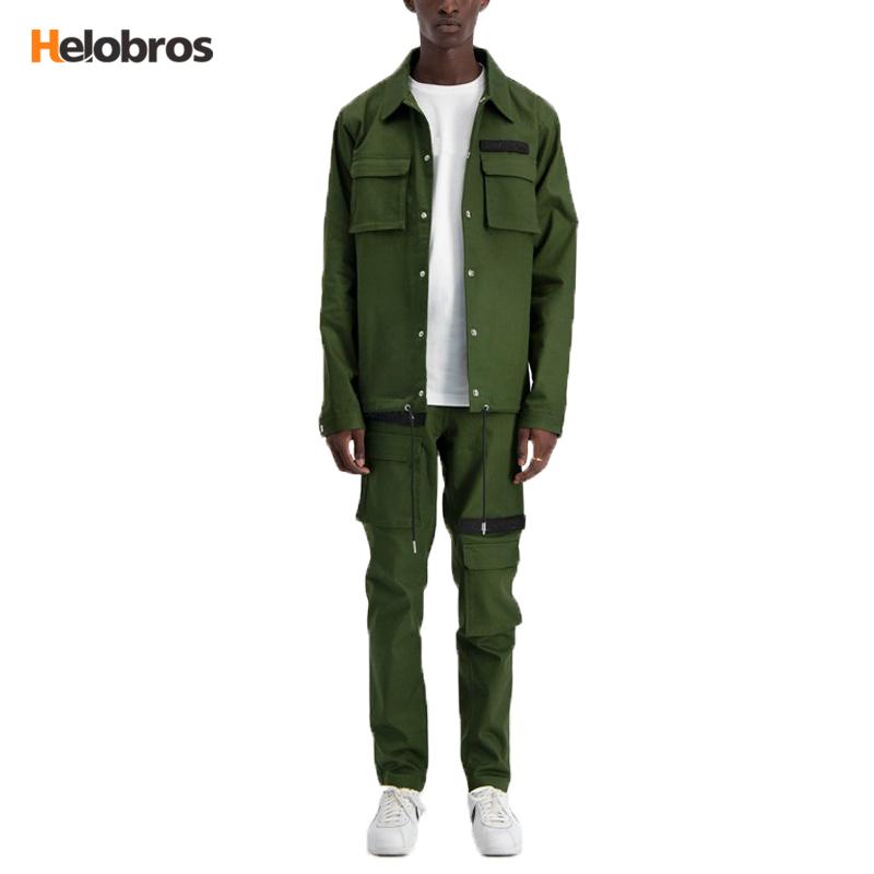 2020 yeni moda bahar/kış toptan özel % 100% pamuklu Denim kargo antrenör ceketi yeşil